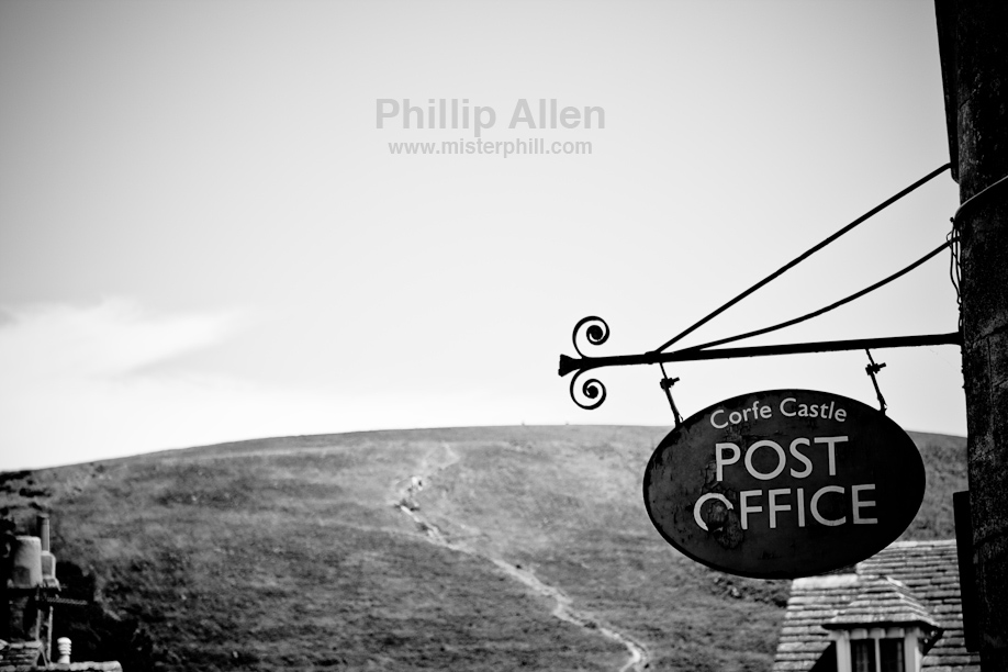 The Post Office at Corfe Castle village, backed by one of the few hills that I didn