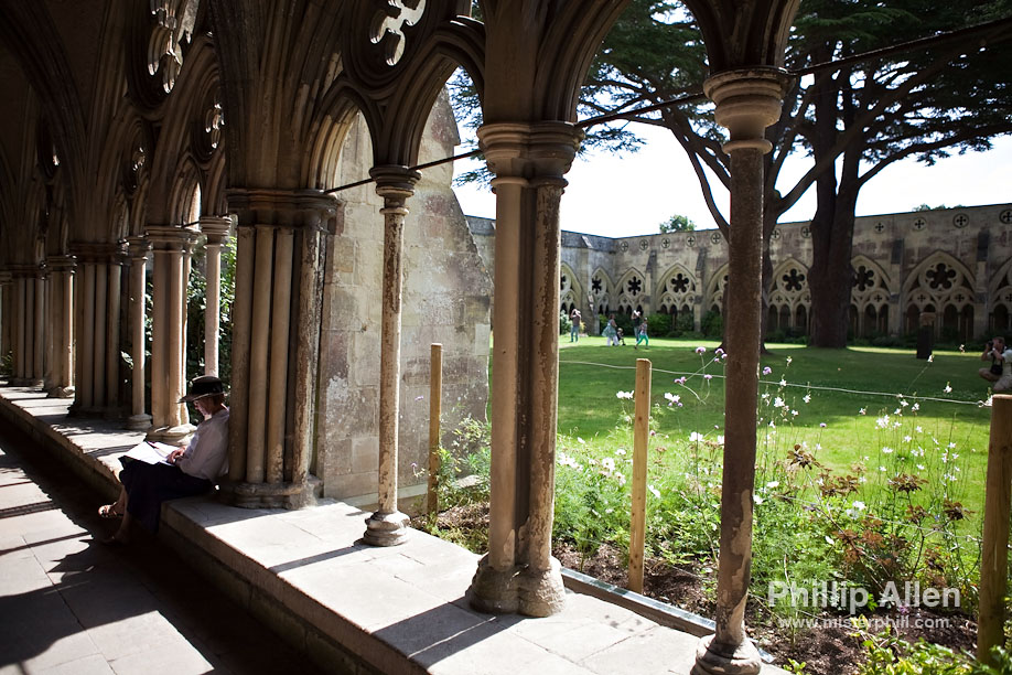 The cloisters of Salisbury Cathedral make for a marvellous spot to unwind, reflect and absorb in peace, even surrounded by throngs of visitors. Really.